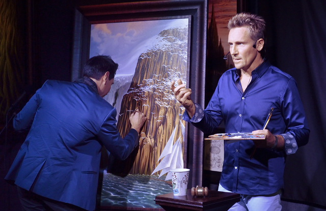 """""""Jersey Boys"""" star Travis Cloer, left, and artist Vladimir Kush are shown during a promotional event and charity auction at Kush Fine Art in the Forum Shops at the Caesars Palace hotel-c ..."""