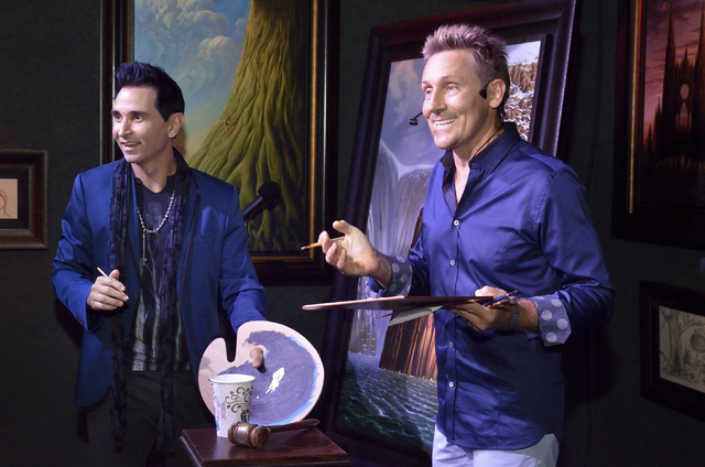 """Jersey Boys"" star Travis Cloer, left, and artist Vladimir Kush are shown during a promotional event and charity auction at Kush Fine Art in the Forum Shops at the Caesars Palace hotel-c ..."