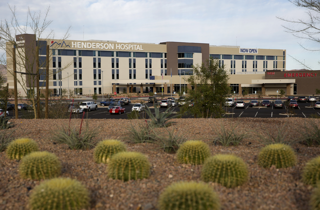 Henderson Hospital located on 1050 Galleria Drive in Henderson on Wednesday, Nov. 30, 2016. (David Guzman/Las Vegas Review-Journal) Follow @DavidGuzman1985