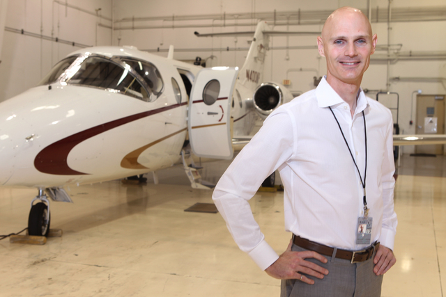 Greg Woods, CEO for Cirrus Aviation Services, poses for a portrait at the Atlantic Aviation terminal at McCarran International Airport in Las Vegas Tuesday, April 14, 2015. (Erik Verduzco/Las Vega ...