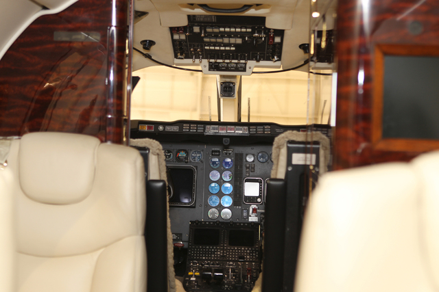 The interior of a Hawker 400, a small twin-engine jet, part of the Cirrus Aviation Services jet fleet is seen during a tour by the company's CEO Greg Woods at the Atlantic Aviation terminal at McC ...