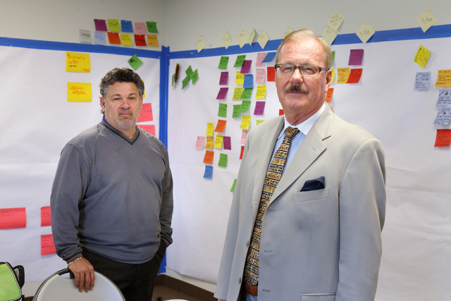 Nelson Cumana, vice president, left, and Robert Potter, president, of Affordable Concepts Thursday, Feb. 26, 2015. (Sam Morris/Las Vegas Review-Journal)