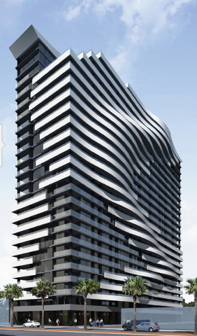Courtesy A rendering shows what the condo tower will look like when completed.