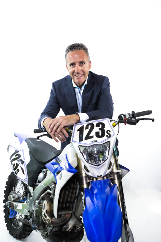 Shawn Danoski, CEO of DC Building Group, poises with his motorcycle in the Las Vegas Review-Journal studio on Monday, Aug. 12, 2016. Jeff Scheid/Las Vegas Review-Journal Follow @jeffscheid