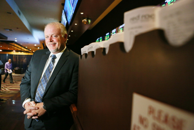 Palace Station general manager Scott Nelson stands at the counter of the newly renovated sports side of the Race & Sports Book at Palace Station hotel-casino Tuesday, Aug. 23, 2016, in Las Veg ...