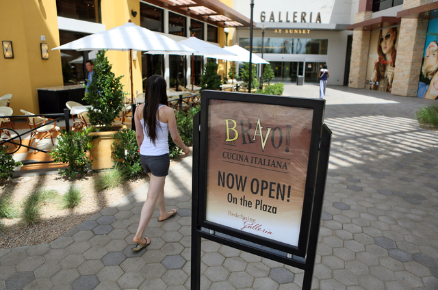 A sign is posted outside Bravo Italian restaurant near an entrance to Galleria at Sunset mall Thursday, June 4, 2015, in Henderson. Galleria at Sunset, which has expanded to just over 1 million sq ...