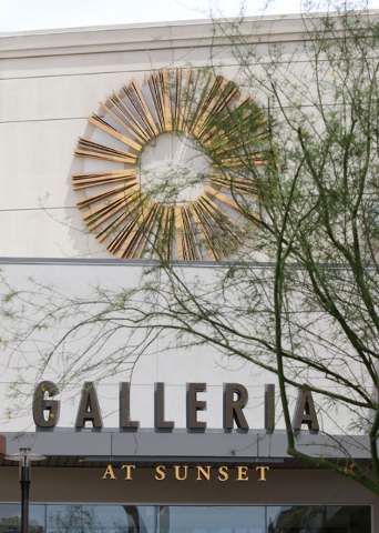 A sign is shown at an entrance to Galleria at Sunset mall Thursday, June 4, 2015, in Henderson. Galleria at Sunset, which has expanded to just over 1 million square feet since it opened in 1996, h ...