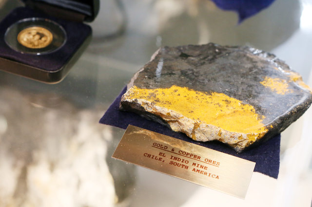 Gold and copper ores are shown in a display case in the front lobby at Barrick Gold Corporation, Wednesday, Oct. 12, 2016, in Henderson. Ronda Churchill/Las Vegas Review-Journal