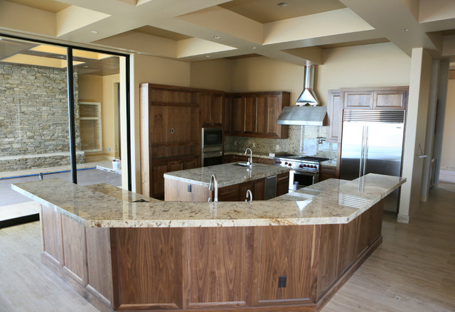 An unfinished kitchen is shown in a 12,000-square-foot custom-built luxury home located in MacDonald Highlands exclusive gated golf course community Tuesday, June 2, 2015, in Henderson. (Ronda Chu ...