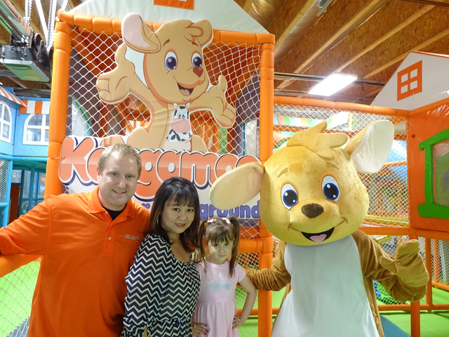 The Wachters -- Shawn, Mimi and daughter MaiLee -- and mascot Kangamoo all got through a tough opening day at their playland marred by a cyber attack. Craig A. Ruark/Special to the Las Vegas Busin ...