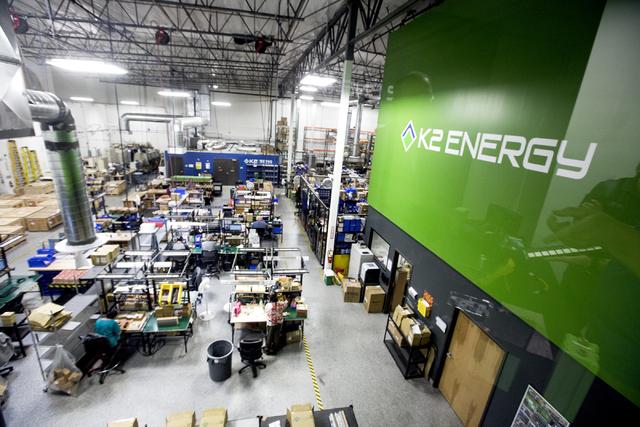Jeff Scheid/Las Vegas Review Business Press K2 Energy Solutions, 7461 Eastgate Road, in Henderson, manufactures lithium batteries.