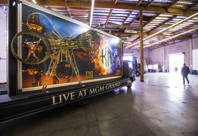 "A custom 3D build-out mobile billboard for ""KÀ"" by Cirque du Soleil parks in a warehouse at Kre8 Media Outdoor Advertising, 4050 W . Harmon Ave., on Friday, Dec. 9. Jeff Scheid/Las Vegas Revi ..."