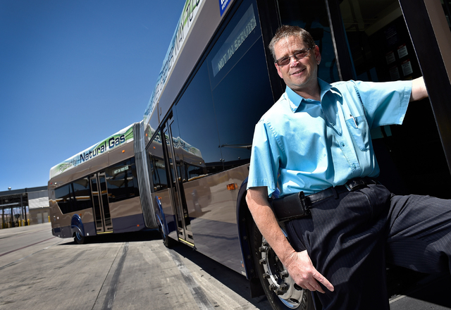 Steve Gebhard, manager of fleet services for the Regional Transportation Commission, stands in the doorway of a natural gas powered bus at a service facility in Las Vegas. The RTC has been replaci ...
