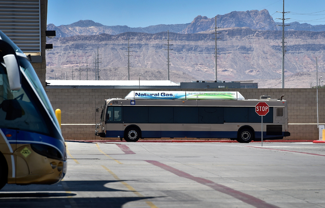 A natural gas powered bus arrives at a Regional Transportation Commission service facility in Las Vegas on Monday, June 22, 2015. The RTC has been replacing its fleet of diesel burning buses with  ...