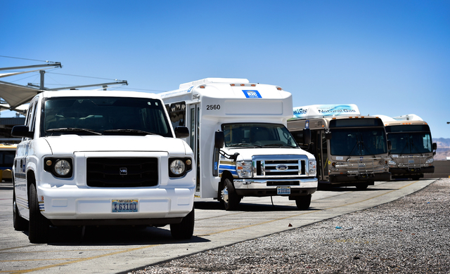 Natural gas powered buses are seen lined up at a service facility in Las Vegas on Monday, June 22, 2015. The RTC has been replacing its fleet of diesel burning buses with cleaner natural gas power ...