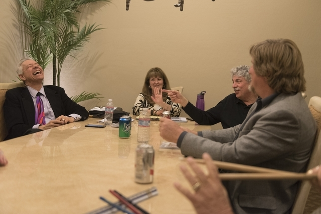 Members of the band Alter'd Ego, from left, keyboardist Kenneth A. Woloson, vocalist Phronsie Markin, bassist Dave Miller and guitarist J.A. Skip Kelley speak with a reporter at Markin's residence ...