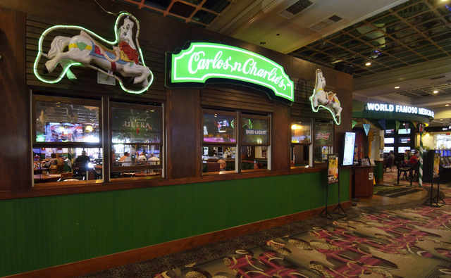 The exterior of Carlos'n Charlie's is shown in the Flamingo hotel-casino at 3555 Las Vegas Blvd. South in Las Vegas on Friday, May 27, 2016. Bill Hughes/Las Vegas Review-Journal