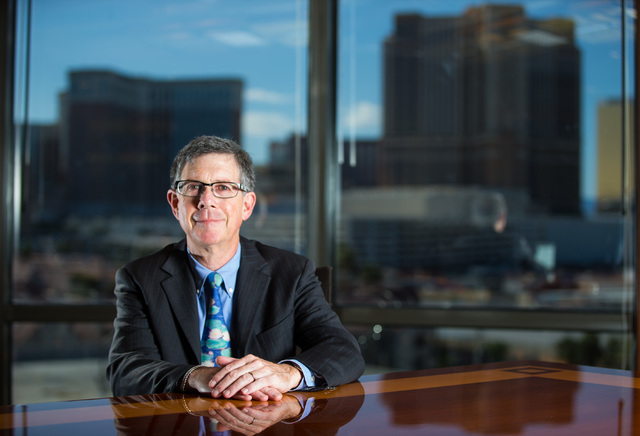 Attorney Rob Charles of the Lewis Roca Rothgerber Christie firm says Chapter 11 bankruptcies are down in favor of negotiation. His office is at the Hughes Center in Las Vegas. Chase Stevens/Las Ve ...
