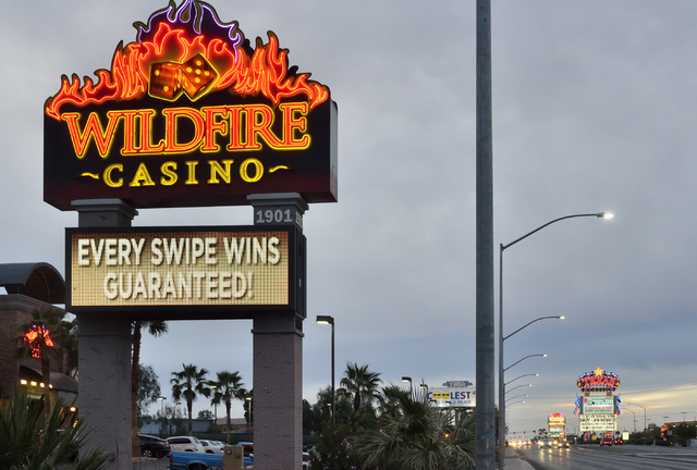The Wildfire Casino sign is shown with the Fiesta and Texas Station hotel-casinos in the background on North Rancho Drive in Las Vegas on Thursday, April 7, 2016. Bill Hughes/Las Vegas Review-Journal