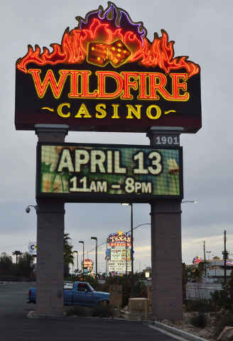 The Wildfire Casino sign is shown with the Fiesta and Texas Station hotel-casinos in the background on North Rancho Drive in Las Vegas. Bill Hughes/Las Vegas Business Press