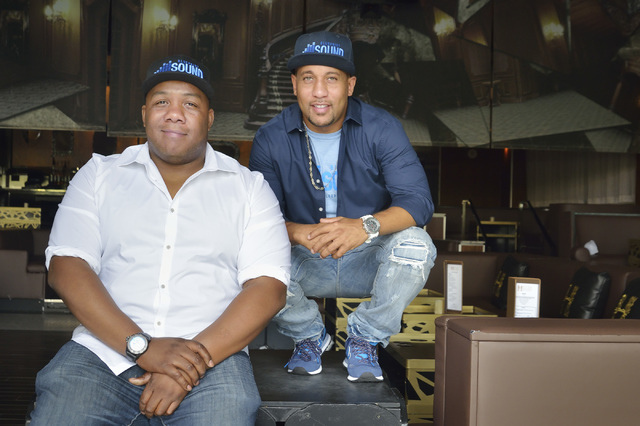 Dee Spuriel, left, and Terrence Bligen, co-owners of Blueprint Sound, are shown at Hyde nightclub in the Bellagio hotel-casino at 3600 S. Las Vegas Blvd. in Las Vegas on Monday, June 27, 2016. Spu ...