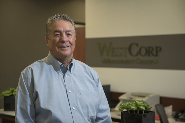 Bob Weidauer, CEO of WestCorp Management Group, poses for a photo at his office in Las Vegas on Tuesday, Aug. 16, 2016. (Martin S. Fuentes/Las Vegas Review-Journal)