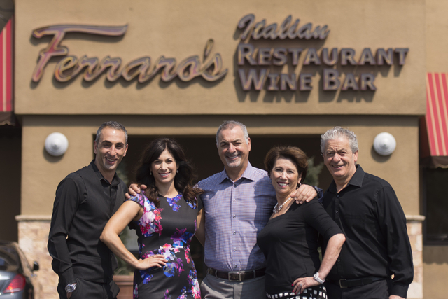 The family that runs Ferraro's Italian Restaurant & Wine Bar stands outside of their Las Vegas restaurant Aug. 25. Pictured from left: Walter Ferraro, Teresa Ferraro-Marretti, Gino Ferraro, Ro ...