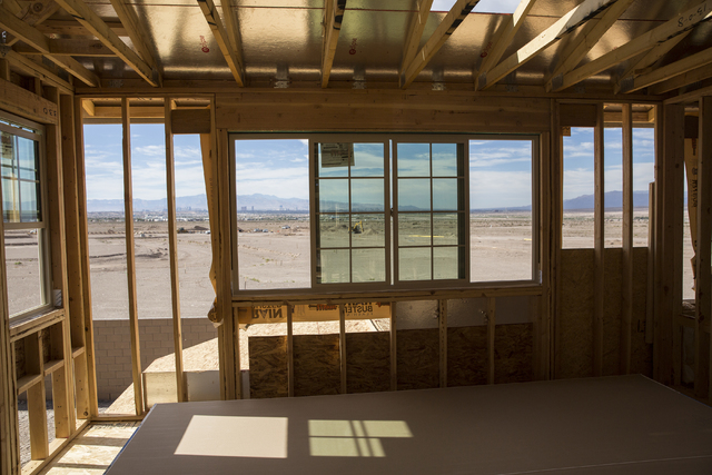 The view of downtown Las Vegas from a nearly completed home at Cadence master plan community on Friday, Oct. 15, 2016, in Henderson. Benjamin Hager/Las Vegas Review-Journal