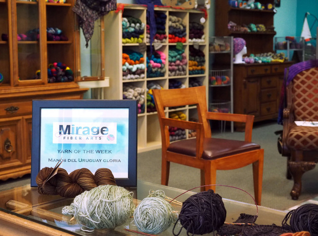 Many different types of yarn are seen at the grand opening of the Mirage Fiber Arts store in Las Vegas. (Jerry Henkel/Las Vegas Review-Journal)