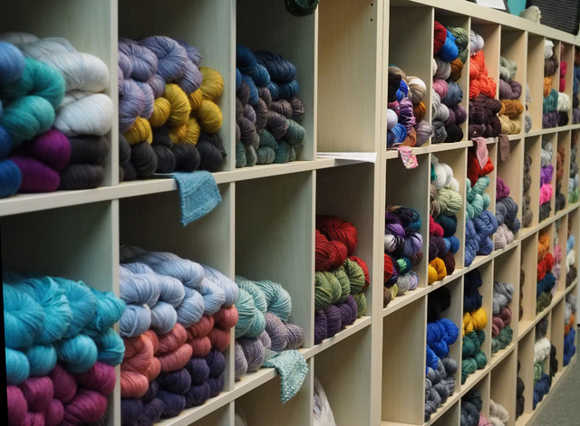 Skeins of yarn are seen at the grand opening of the Mirage Fiber Arts store. (Jerry Henkel/Las Vegas Review-Journal)