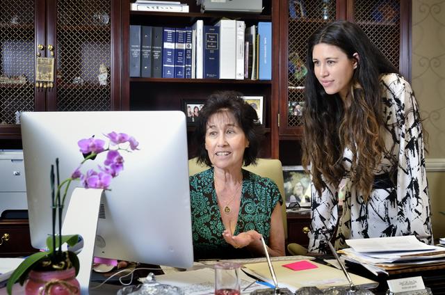 "Israel ""Ishi"" Kunin, left, works with her daughter, Shoshana Kunin-Leavitt, at the Kunin Law Group on East Bonanza Road in Las Vegas. Bill Hughes/Las Vegas Business Press"