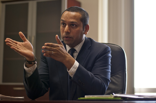 Sharath Chandra, the new administrator of the Real Estate Division of the Department of Business and Industry, speaks with a reporter inside his office in Las Vegas on Thursday, Aug. 25, 2016. Dan ...