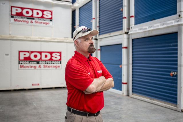 Michael Smith, the new vice president of moving operations for QuarterMoore, a PODS operator in Las Vegas, poses for a portrait in the PODS warehouse on Wednesday, Aug. 24. Elizabeth Page Brumley/ ...