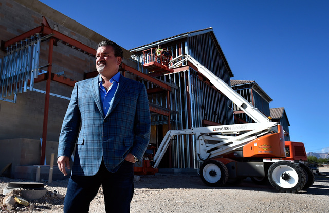 Developer David DelZotto, founder and president of Remington Nevada, looks on at his project, Mountain Edge Marketplace, Monday, Oct. 17, 2016, in Las Vegas. The 185,000 square-foot center at the  ...