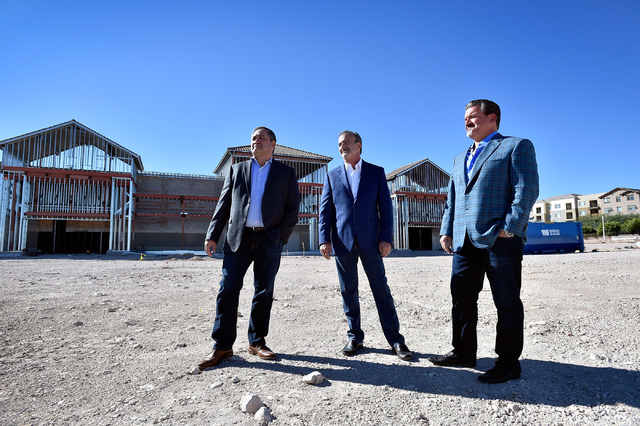 Partners at Remington Nevada, from left, Tom Fehrman, Stan Wasserkrug and Remington Nevada president and founder David DelZotto stand at Mountain Edge Marketplace Monday, Oct. 17, 2016, in Las Veg ...