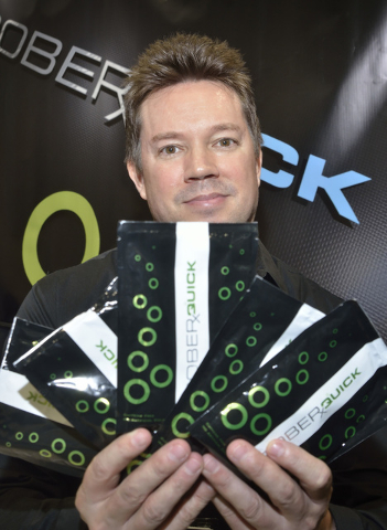 Jared Anderson, president of Liquid Innovations, is shown at the SoberQuick booth at the Nightclub and Bar convention and trade show in the Las Vegas Convention Center at 3150 Paradise Road in Las ...