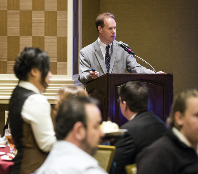 Henry Shields, director of Finance and Analysis, Corporate Sustainability Division, MGM Resorts International, speaks during the 2016 Sustainability Conference at The Orleans on Thursday Nov. 10,  ...