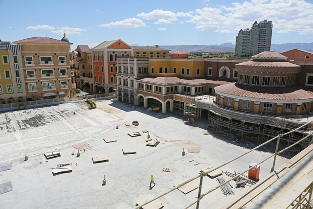 Construction for Tivoli Village's second phase is shown Tuesday, May 31, 2016, in Las Vegas. The mixed-use shopping, office and dining center is slated to open in October. (Ronda Churchill/ ...