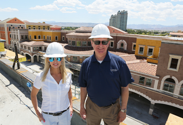 Tivoli Village's Heather Fitzgerald, left, director of brand management, and Curt Fickeisen, general manager, are looking forward to the October opening of Tivoli Village's second phase (Ronda C ...