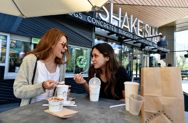 Victoria Means, left, and Cathy Ruiz, both of Los Angeles, enjoy their shakes on the patio at Shake Shack restaurant at the New York-New York hotel-casino.. David Becker/Las Vegas Business Press F ...