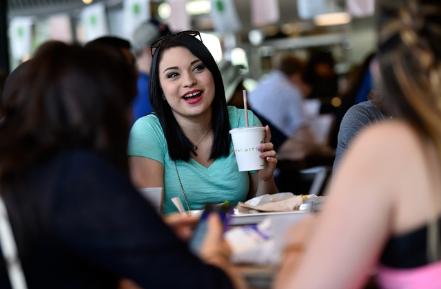 Evangeline Sotelo, sits with friends as she eats at the Shake Shack restaurant at the New York-New York hotel-casino Monday, May 2, 2016, in Las Vegas. David Becker/Las Vegas Review-Journal Follow ...