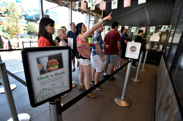 Customers line up to place their orders at the Shake Shack restaurant at the New York-New York hotel-casino Monday, May 2, 2016, in Las Vegas.  David Becker/Las Vegas Review-Journal Follow @davidj ...