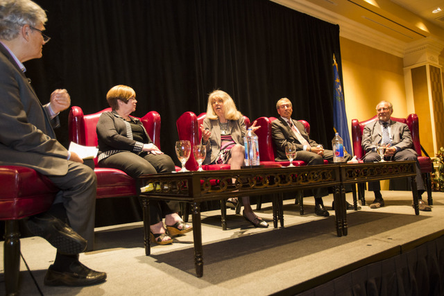 Norm Clarke, from left, moderates a speaking session with Elaina Blake, Cindy Coletti, Mark Fine and Richard Plaster during the Southern Nevada Home Builder's җe Built this City 3.0.Ӡd ...