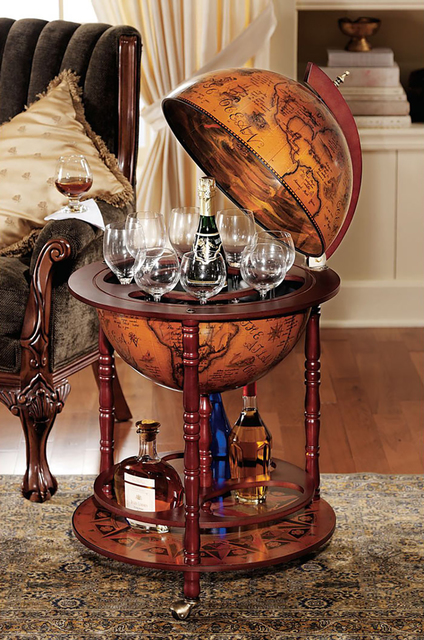 Italian-style 38.5-inch 16th-century globe bar with turned solid hardwood legs, $215.46; available from brookstone.com