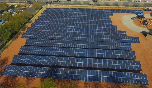 Solar panels generate power at Cox's Las Vegas facility. (Courtesy)