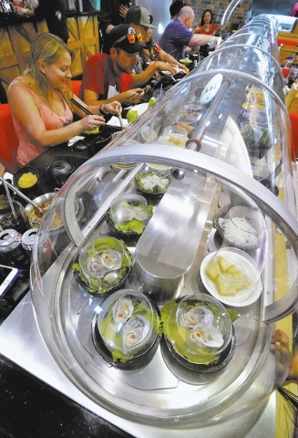 A refrigerated conveyor belt used to take food directly to customers is shown at the Chubby Cattle restaurant at 3400 S. Jones Blvd. in Las Vegas on Thursday, Sept. 1, 2016. Bill Hughes/Las Vegas  ...