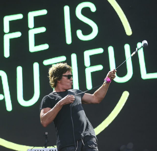 Stephan Jenkins of Third Eye Blind performs during the Life is Beautiful music and arts festival in downtown Las Vegas on Sunday, Sept. 25, 2016. Chase Stevens/Las Vegas Review-Journal Follow @css ...