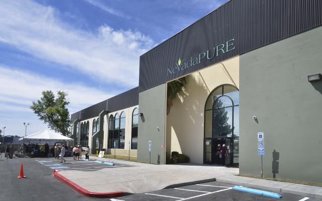 The exterior of a 70,000-square-foot building scheduled to house NevadaPURE's medical marijuana operation is shown during groundbreaking ceremonies at 4380 S. Boulder Highway in Las Vegas on Wedne ...
