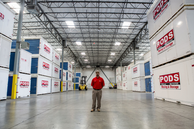 Michael Smith, the new vice president of moving operations for QuarterMoore, a PODS operator in Las Vegas, poses in the PODS warehouse on Wednesday, Aug. 24. Elizabeth Page Brumley/Las Vegas Revie ...