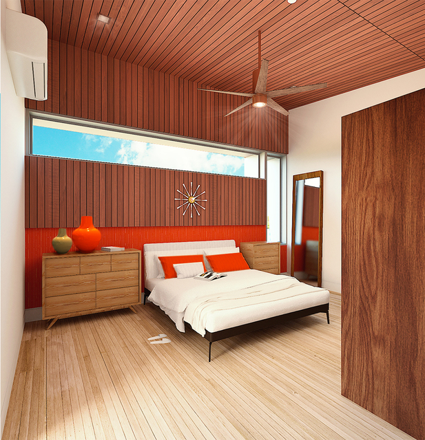 The 990-square- foot home's bedroom. (Courtesy)
